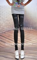 Cheap LG-471 Women's PU Leather Patchwork Leggings Fashion Studs Rivet Punk Leggings Pencil Pants