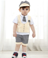 Wholesale 2014 Summer Boys Preppy Sets Kids Cloth Hat Tie Cute Waistcoat White Short Sleeve T shirt Plaid Shorts Outfit Children Outwear I1407
