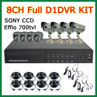 Wholesale CCTV DVR System CH Full D1 H DVR With HDMI H Network Real time dvr kit SONY CCD Effio TVL Vandalproof Outdoor Camera OSD Menu