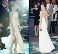 Wholesale 2015 Pure white halter Emma Watson red carpet celebrity dresses sleeveless side slit A line long backless evening gowns prom dresses
