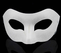 Wholesale White Half Face Mask Halloween blank paper Zorro Mask DIY Hip Hop mask Hand painted masks street dancing