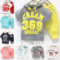 Unisex Summer Short new 2014 summer set cotton kids clothing set T-shirt+pant, 369 baby boys and girls children's sports suit 5sets lot
