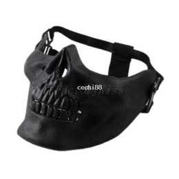 Crâne de protection en Ligne-Livraison gratuite 2014 Promotion Mens Skull Skeleton Airsoft Game Hunting Biker Ski Half Face Gear Mask Guard 5 [4003-012]