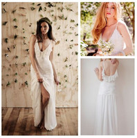 Two-Layer Fingertip Length Ribbon Edge Hot Sale 2014 Spaghetti Straps Bohemian Beach Wedding Dresses Floor Length Backless Boho Chiffon&Lace Summer Bridal Gown