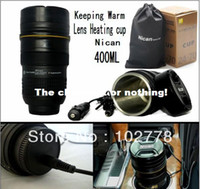 Cheap Free dhl 150 lens heating cup Coffee camera len mug stainless steel liner travel thermal cup 400ml keeping warm with car charger