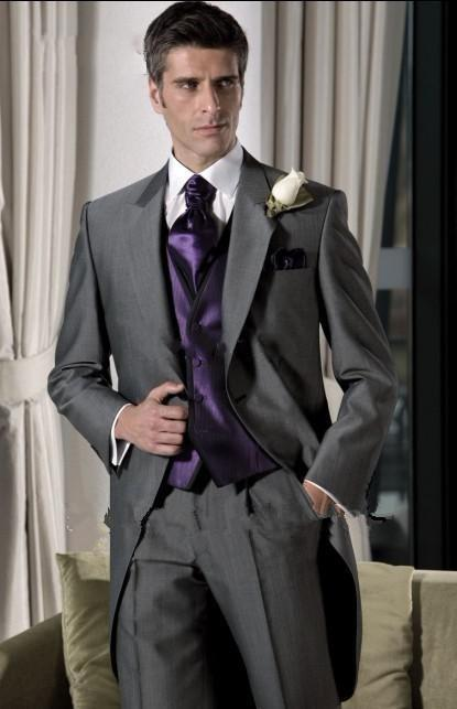 Custom High Quality Suits Formal Groom Tuxedo For Gray Purple Coat ...