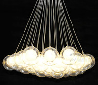 glass decor - Modern Chandelier lights Glass Ball Pendant Light G4 Blub Ceiling Lamp Hotel Decor ok360