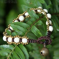 Cheap free shinppingEthnic fashion palace retro copper wire braided bead bracelet handmade original wax hand ring jewelry wholesale
