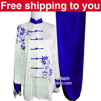 Wholesale Chinese Tai chi clothing tai ji sword suit morning performance sets blue orchid embroidery men women children little boy girl