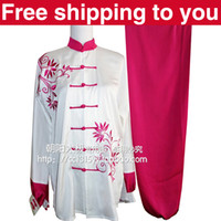 Wholesale Chinese Tai chi clothing taiji sword suit morning performance set purple orchid embroidery men women children little boy girl
