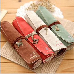 Wholesale Korean version of the retro pencil bags creative stationery lovely minimalist canvas tool bag makeup bags Color optional a555
