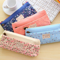 Cheap Small floral pattern multilayer fashion double zipper pencil case stationery bags Pouch Makeup Kit a556