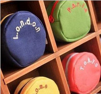 Cheap Korean cute candy colored women's round canvas small purse coin bag storage bag female models key cases have a lanyard a563