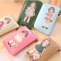 Wholesale Coin bag zipper bag retro fashion doll cute cartoon cell phone bag Holders purse Wallets a571