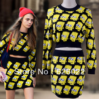 Cheap 2013 New Autumn Fashion Women's Bart Simpson Twinset Knitted Pullover Sweater + Short Skirt Jumper Tops Free shipping