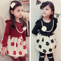 TuTu Spring / Autumn A-Line Free shipping spring autumn girl baby dress clothing wholesale leisure dresses kids dress Get necklace 5ps lot