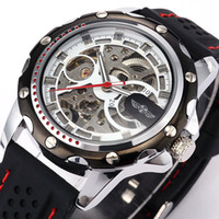 Wholesale S5Q New Military Mechanical Automatic Skeleton Men s Silicone Sport Wrist Watch AAABMG