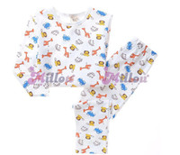 Cheap 1266942673 Wholesale 1 lot = 5 Kids children new 2014 baby cotton Set boy cartoon spring sleeved home clothes pajamas Free Shipping DHL