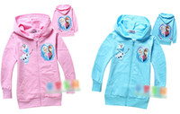 Wholesale 8 off IN STOCK Ice snow big adventure Zipper Hooded Long sleeve kids pure cotton terry clothes ELSA ANNA DROP SHIPPING MT