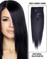 virgin brazilian hair clip in - 40 Prcie OFF Clip In Hair Extenions b Natural Black set g Brazilian Virgin Slik Straight Human Hair Extensions