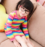 TuTu Spring / Autumn A-Line Free shipping children clothing wholesale rainbow stripe girl tshirts leisure dress baby kids t-shirts 5pcs lot