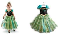 Cheap wholesale--summer dress 2014 tutu girl party dress princess costume baby girls clothes elsa new fantasia frozen dress 5pcs 1lot