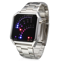 luxury watches Unisex 29 LED Red & Blue Light Silver Steel Band Digital Wrist Watch men sport mens watches mens-watches crystal glass face
