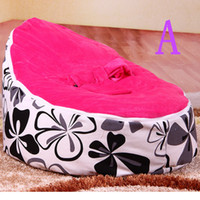 Wholesale baby beanbag chair pink top flower baby chair
