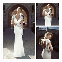 2014 Sexy V- Neck Cap Sleeves Backless Lace A- Line Wedding Dr...