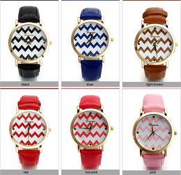 Wholesale - Luxury gold Geneva Women's watch Geneva PU Leather Analog Quartz dress Watches Beige Reloj clock relojes mujer Cheapest watch