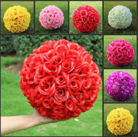 Wholesale 15 CM Diameter New Artificial Encryption Rose Silk Flower Kissing Balls Hanging Ball Christmas Ornaments Wedding Party Decorations Supplies