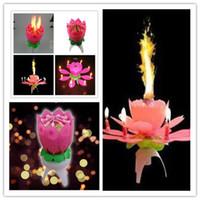 Wholesale Beautiful Birthday Gift Flower Music Candle Flower Music Candle Lotus Music Candle New Lotus Music Candles Lotus Petal For Birthday party