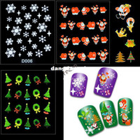 Wholesale Sheets Nail Art Sticker Decorations Christmas Gift Presents Santa Trees Design DIY Nail Decoration