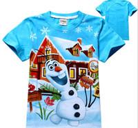 Wholesale Hot Frozen Princess Ann Elsa Olfa Summer girl t shirt Cartoon kids causal T shirts for kids boys girls cotton brand short tee