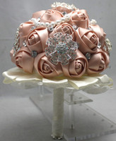 Cheap Luxury wedding bride bouquet posy handmade satin ribbon lace diamond pearl bouquets rose flowers photo props wedding events supplies new