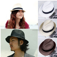 Wholesale 2014 New and Hot selling Mens Womens Fedora Panama Tribly Summer Sun Straw Fedora Crushable Cap Hat wx49