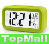 Mechanical Alarm Clocks  JJ684*4.3 inch Smart Light LCD Alarm Clock Smart Lighting Alarm Desk Calendar Wall Alarm Ring Clocks Matte Touch Snooze Function
