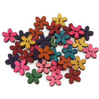 Wholesale 100pcs Mixed Color Five Petals Flower Wooden Buttons Fit Sewing and Scrapbook mm