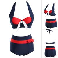 Wholesale Details about Retro Women Navy Hight Waist Push up Padded Bikini Set Vintage Swimwear Swimsuit