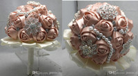 Wholesale Fashion wedding bride bouquet posy handmade satin ribbon lace diamond pearl bouquets rose flowers photo props wedding events supplies ems