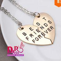 Wholesale 2014 new style broken heart parts best friends forever pendant necklace