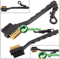 Wholesale New arrive Dual Bristles Golf Club Brush Cleaner Ball Way Cleaning Clip Plastic Groove