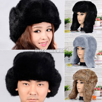 Wholesale New Winter Ski Aviator Bomber Trooper Russian Trapper Faux Fur Hat Cap Ear Flap FX258