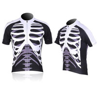 Wholesale S5Q Sport Mens Skull Mounted Cycling Short Sleeve Jersey Shirt Only Bike Bicycle AAADKM