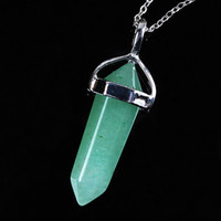 aventurine pendant - Silver Plated Natural Green Aventurine Hexagon Column Pendant Chain Necklace Fashion Jewelry