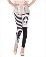 Wholesale 2014 New Arrive Summer European And Americas Skull Pirate Captain Stripe Casual Trousers Milk Silk Leggings Nine Minutes Pants