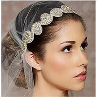 bead embroidery jewelry - New Vantage Bridal Wedding Handmade Embroidery Rhinestone Crystals Headband Hair Jewelry Pearl Beads Lace Flower Headpieces Sash Belt