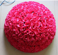Wholesale 60 CM quot Artificial Encryption Rose Silk Flower Kissing Balls Large Size For Christmas Ornaments Wedding Party Decorations Color