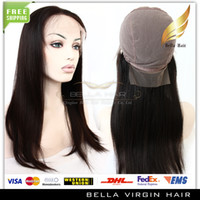 Wholesale Silk Top Human Hair Wigs Full Lace Wigs inch Silky Straight Black High Quality Silk Base Hair Wigs DHL