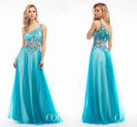 Cheap New Arrival 2015 Sexy Inspired Beaded floor Length One-Shoulder Aqua Prom Dresses Party